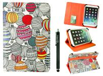 Emartbuy Universal 10-11 Inch Balloons Multi Angle Folio Wallet Case Cover with Card Slots Orange Elastic Strap and Stylus Pen Compatible with Selected Devices Listed Below