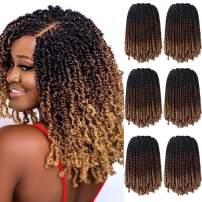 6 Packs Spring Twist Braiding Hair Spring Twists Bomb Twist Hair Synthetic Fiber Fluffy Twist Crochet Braids Low Temperature Twist Crochet Hair for Black Women Braiding Hair(8inch,T1B/30/27)