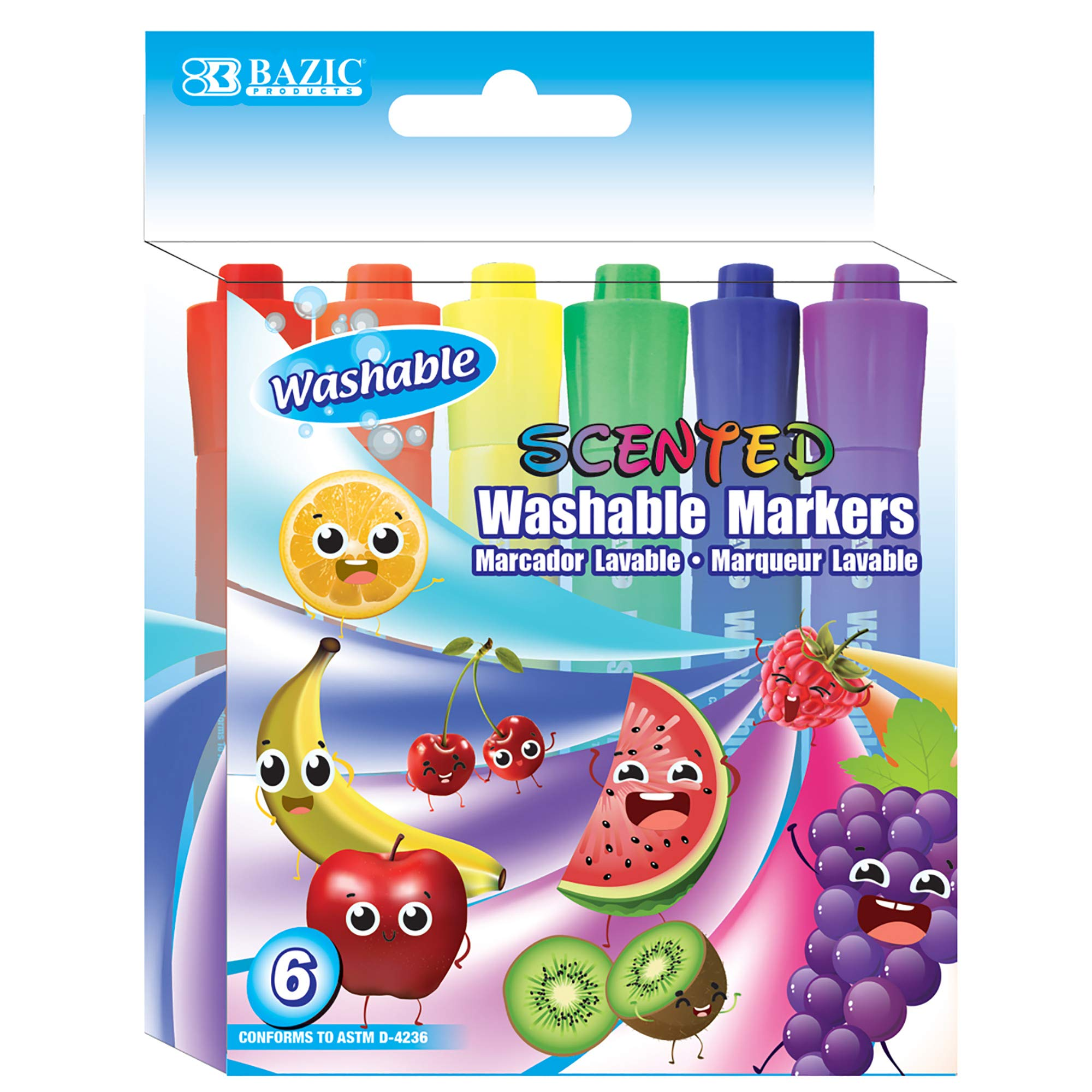 BAZIC 6 Color Washable Fruit Scented Markers, Chisel Tip Assorted Colors Watercolor, Gift for Kids School Art Coloring Drawing (Box of 24)
