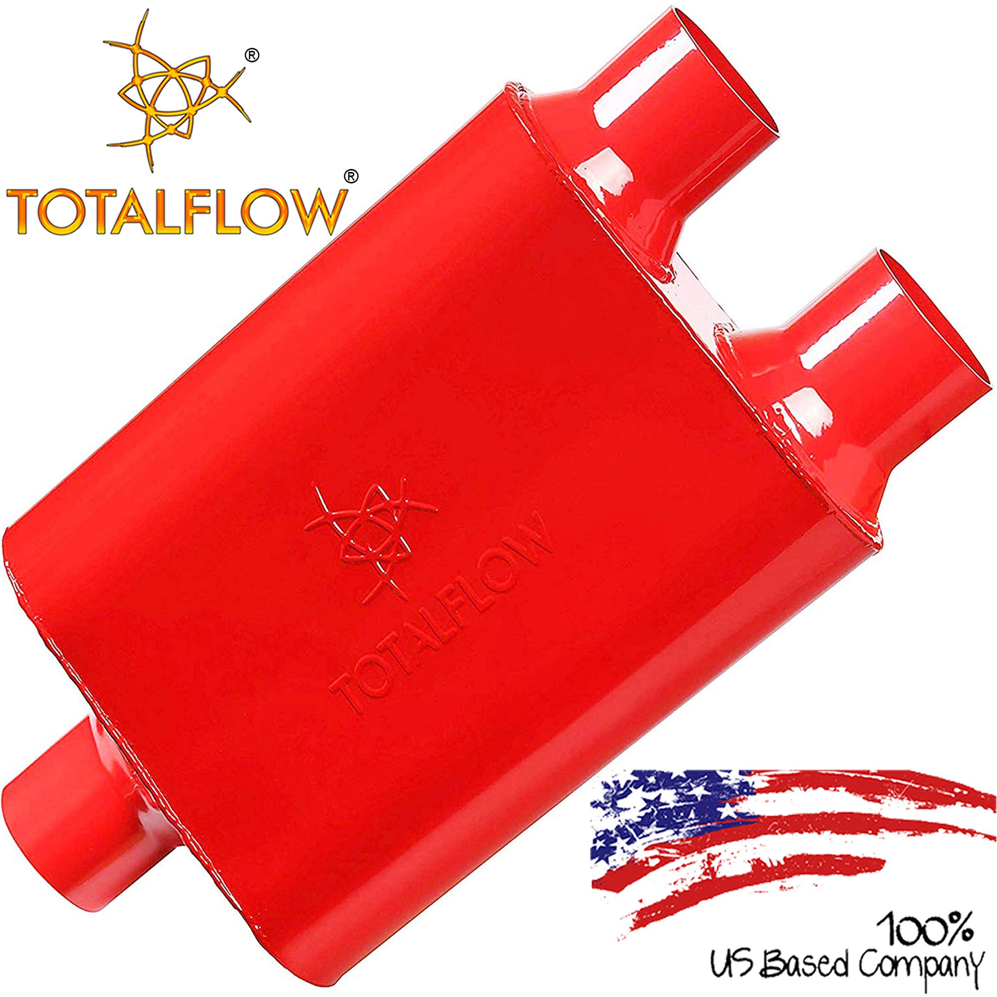"""TOTALFLOW 15402 Two-Chamber Universal Muffler - 3"""" Center In / 2.5"""" Dual Out"""