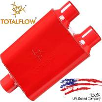 "TOTALFLOW 15402 Two-Chamber Universal Muffler - 3"" Center In / 2.5"" Dual Out"