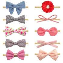 10-Pack Different Styles Baby Girl Soft Headbands and Bows, Newborn Infant Toddler Hair Accessories by Shemay