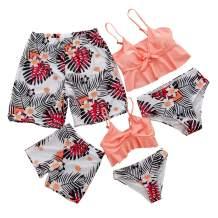 Herimmy Family Matching Swimwear Two Pieces Bikini Set 2020 Newest Printed Ruffles Mommy and Me Swimsuit