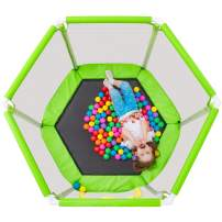 """Merax 55"""" Mini Trampoline for Kids, 4.5FT Indoor Outdoor Trampoline with Safety Enclosure Net & Spring Padding and Ball Pit Balls for Toddlers"""