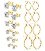 Vegolita 10Pairs Stainless Steel CZ Stud Earrings for Women Girls Hoop Earrings Round Ear Piercing Set 3-8MM