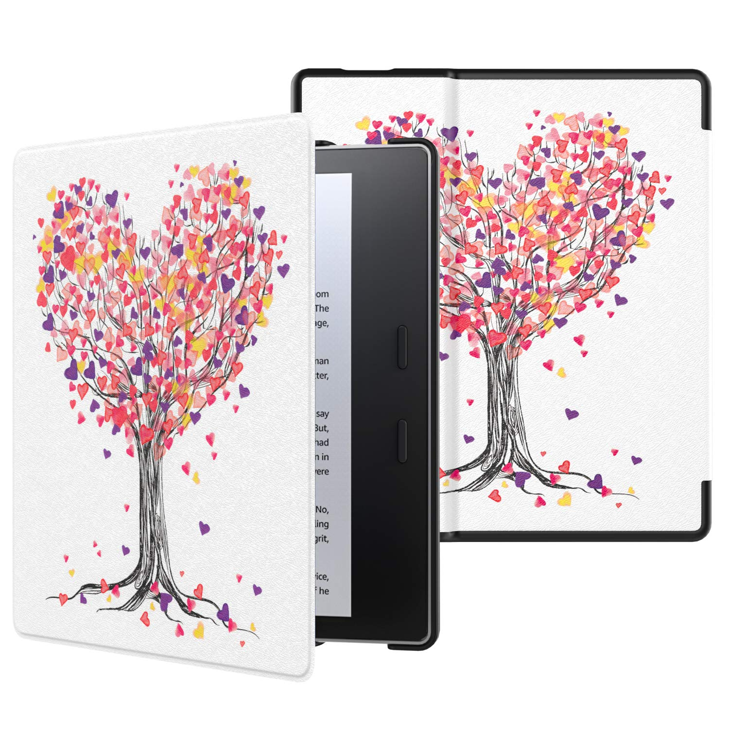 MoKo Case Fits All-New Kindle Oasis (9th and 10th Generation ONLY, 2017 and 2019 Release), Premium Ultra Lightweight Shell Cover with Auto Wake/Sleep - Love Tree