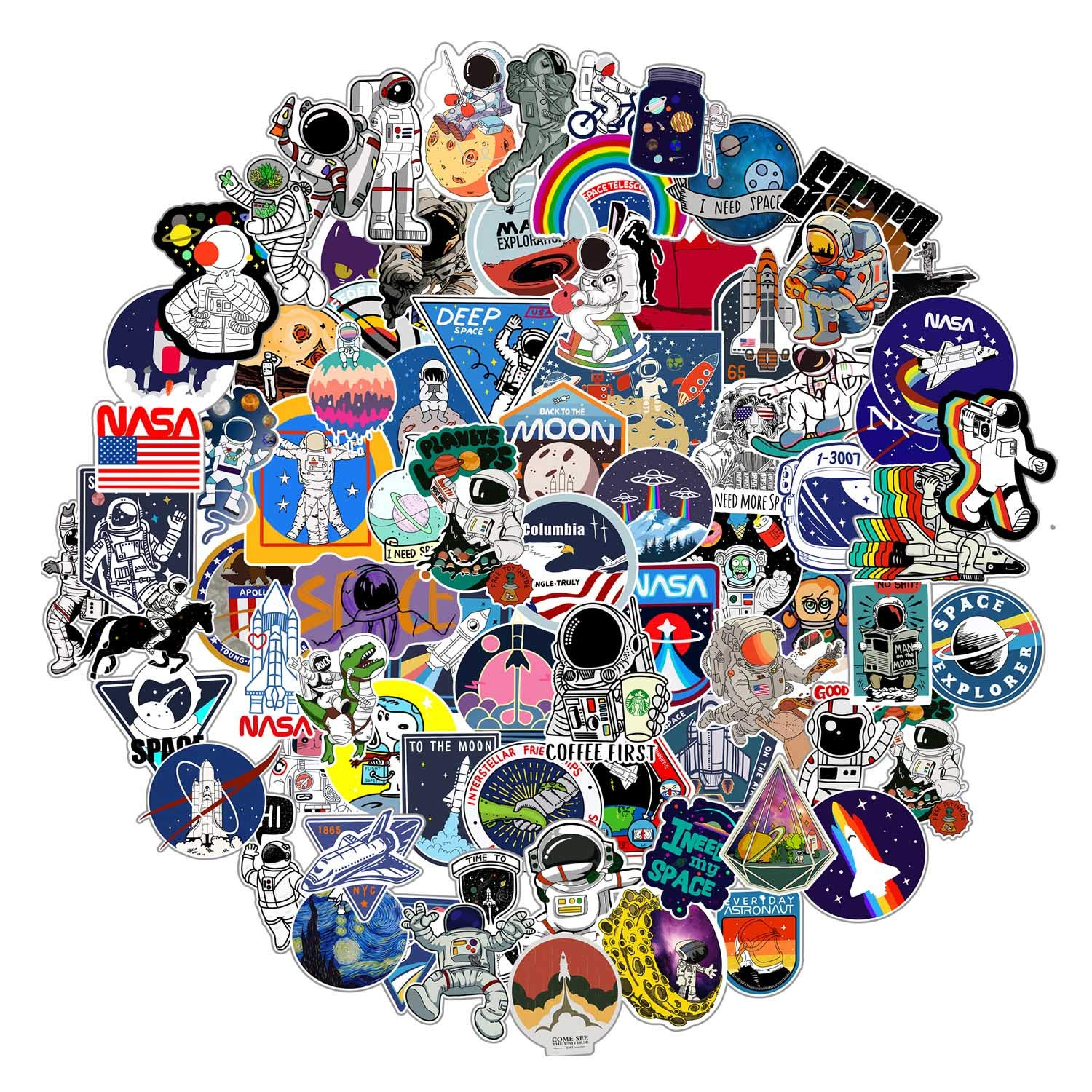 112pcs NASA Space Explorer Stickers Pack for Water Bottle Laptop ,Waterproof Vinyl Vsco Stickers Bomb, Space Gifts for Teens Boys Cool Stickers for Skateboard Luggage Decals