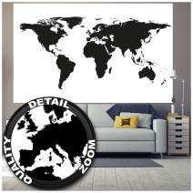 Poster – Black & White Wold Map – Picture Decoration High Contrast Atlas Continents Earth Globe Card Graphic Design Image Photo Decor Wall Mural (55x39.4in - 140x100cm)