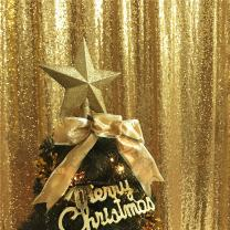 TRLYC Sparkly Gold 8FT by 8FT Sequin Fabric Photography Backdrop Sequin Curtain for Halloween Wedding/Party Christmas Day