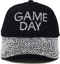 Funky Junque Women's Baseball Cap Silver Rhinestone Bill Sports Mom Bling Hat