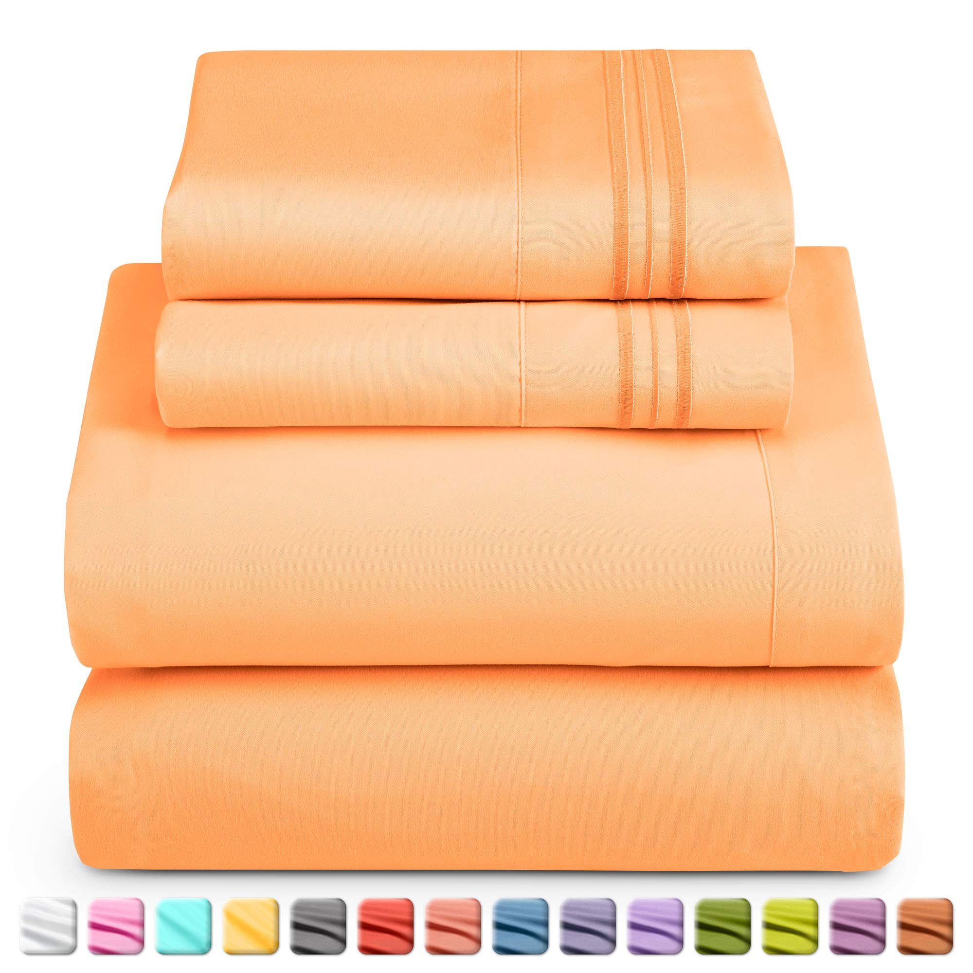 Nestl Deep Pocket Full Sheets: Full Size Bed Sheets with Fitted and Flat Sheet, Pillow Cases - Extra Soft Microfiber Bedsheet Set with Deep Pockets for Full Sized Mattress - Apricot Buff Orange