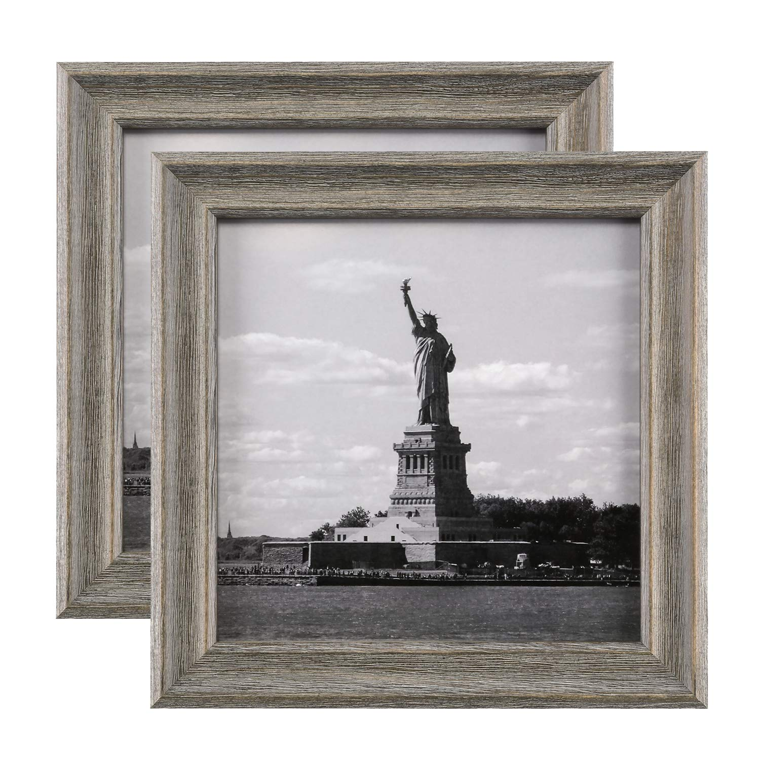 ONE WALL 8x8 Rustic Wood Picture Frame Pack of 2 for Photo, Print Painting, Pinewood Frame with Real Glass for Wall and Tabletop - Mounting Hardware Included, Light Brown