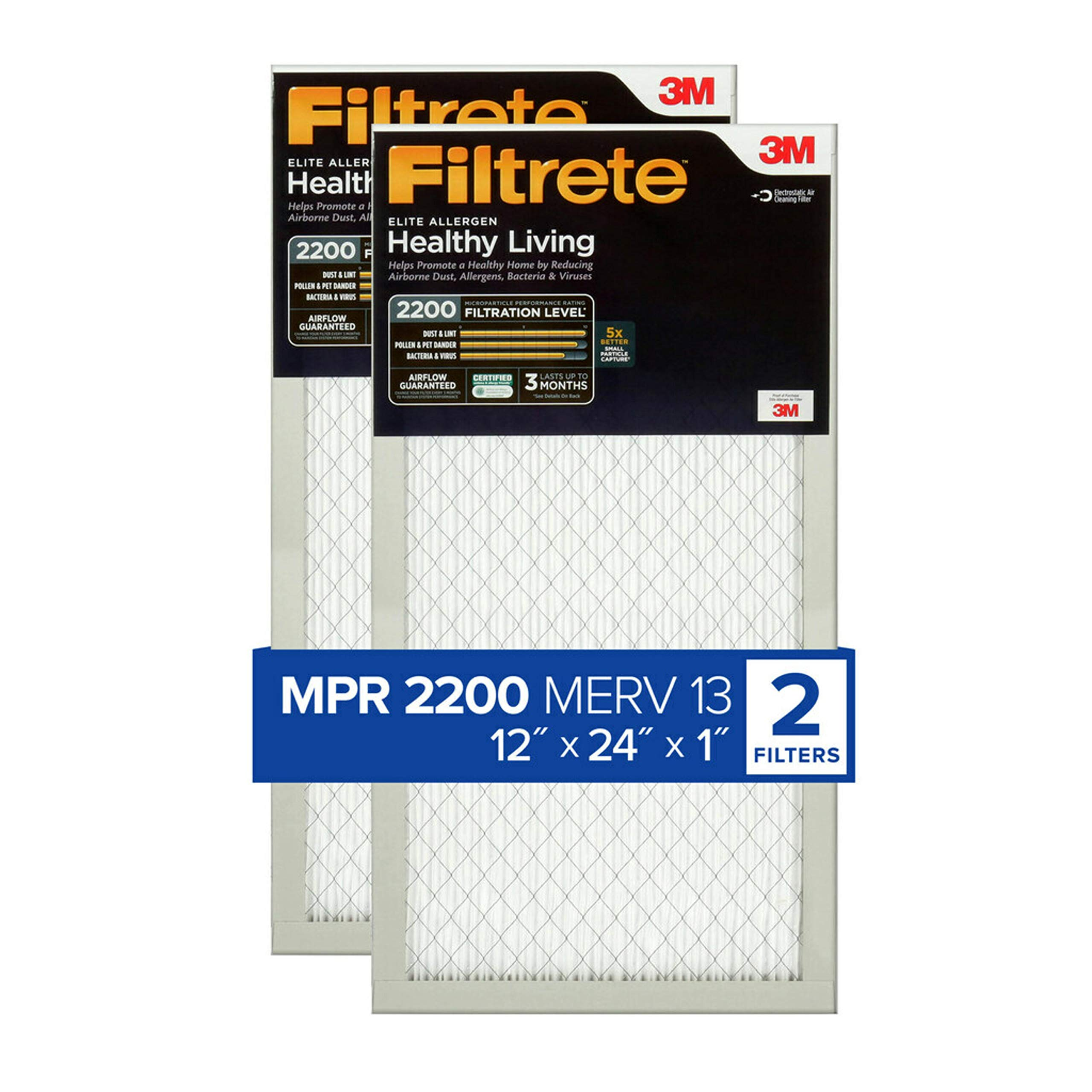 Nordic Pure 20x25x1 MPR 2200 Healthy Living Elite Allergen Replacement AC Furnace Air Filters 3 Pack