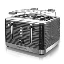 Remington Russell Hobbs TR9450BR Coventry 4-Slice Toaster, Black, Included Warming Rack