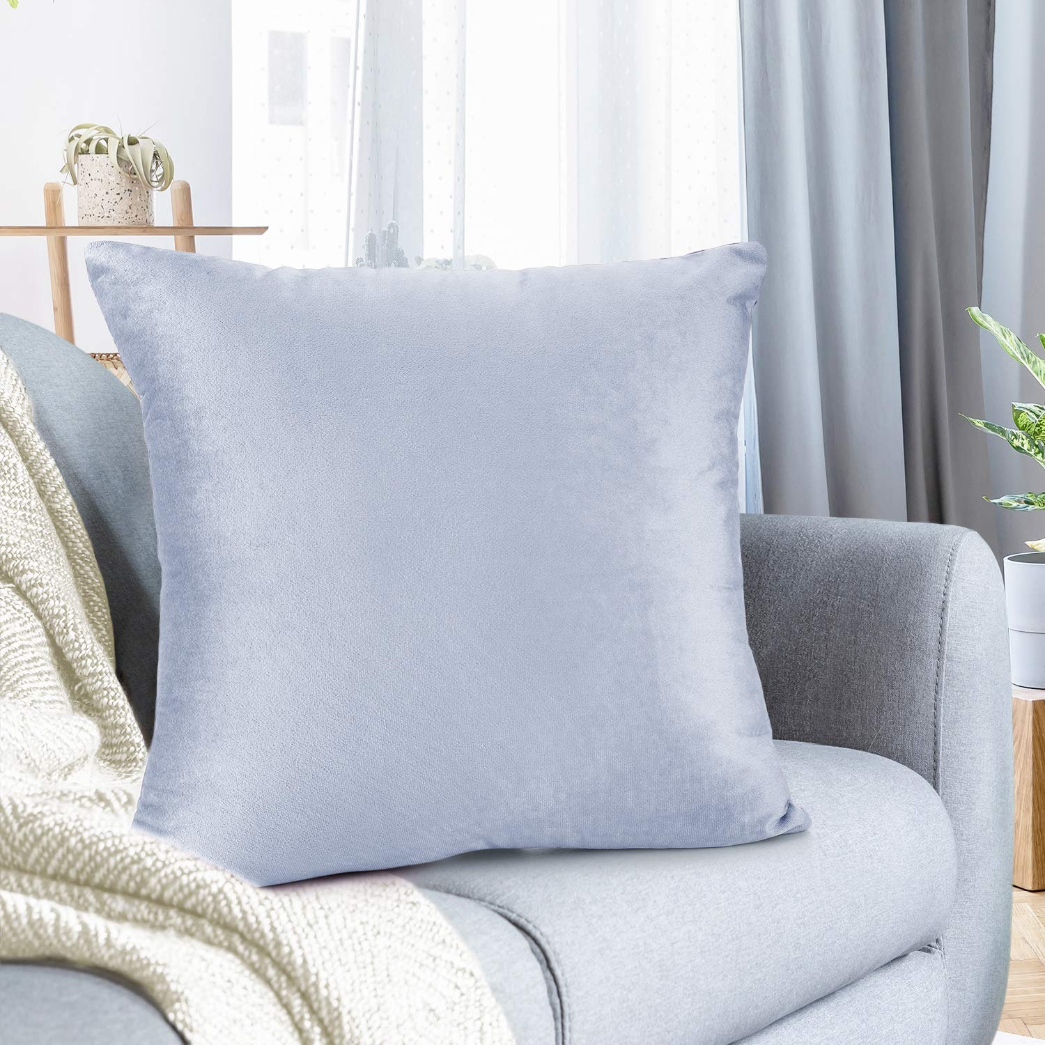 """Nestl Bedding Throw Pillow Cover 22"""" x 22"""" Soft Square Decorative Throw Pillow Covers Cozy Velvet Cushion Case for Sofa Couch Bedroom - Ice Blue"""