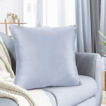 """Nestl Bedding Throw Pillow Cover 26"""" x 26"""" Soft Square Decorative Throw Pillow Covers Cozy Velvet Cushion Case for Sofa Couch Bedroom - Ice Blue"""