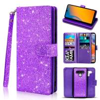 Newseego Compatible LG Stylo 6 Leather Case,Glitter Faux PU Leather Magnetic Closure Multi-Credit Card Slot Cash Holder Detachable 2 in 1 Wallet Cover with Wrist Strap-Purple