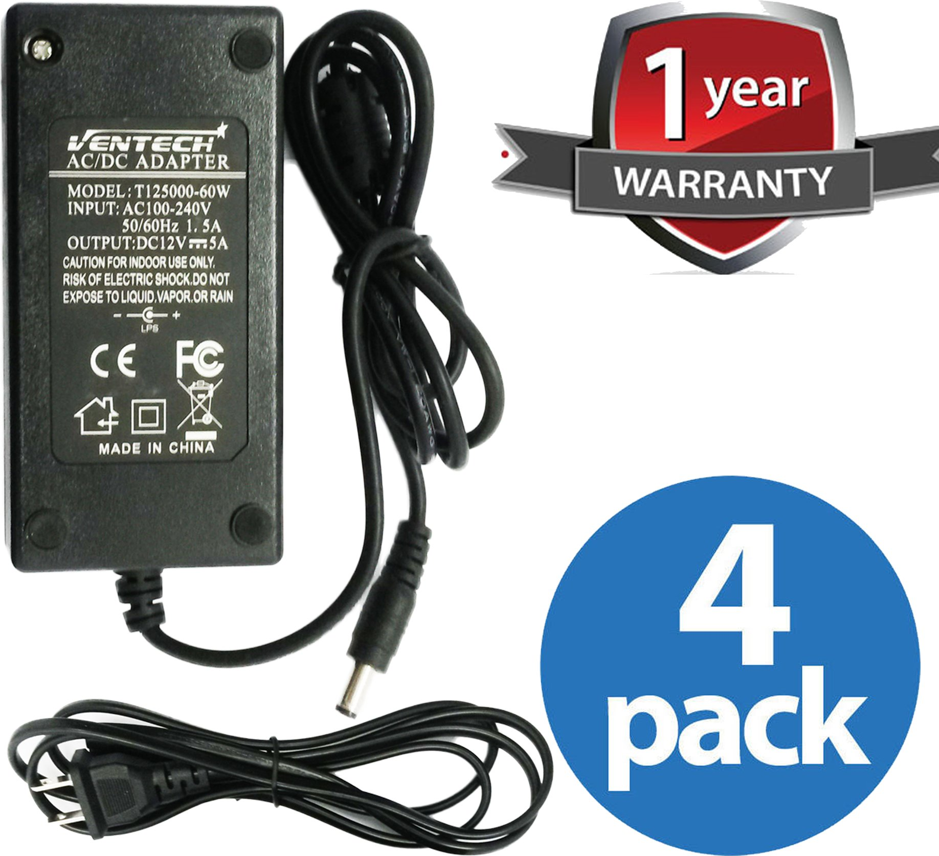 VENTECH (4 Pack) 60 Watt (5 Amp) 12 Volt DC LED Light Strip Power Supply 110V AC to 12V DC Transformer - Driver for LED Tape Light and Other Low Voltage Devices (Security Systems, and More)