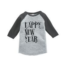 7 ate 9 Apparel Kids Happy New Year's Eve Grey Baseball Tee
