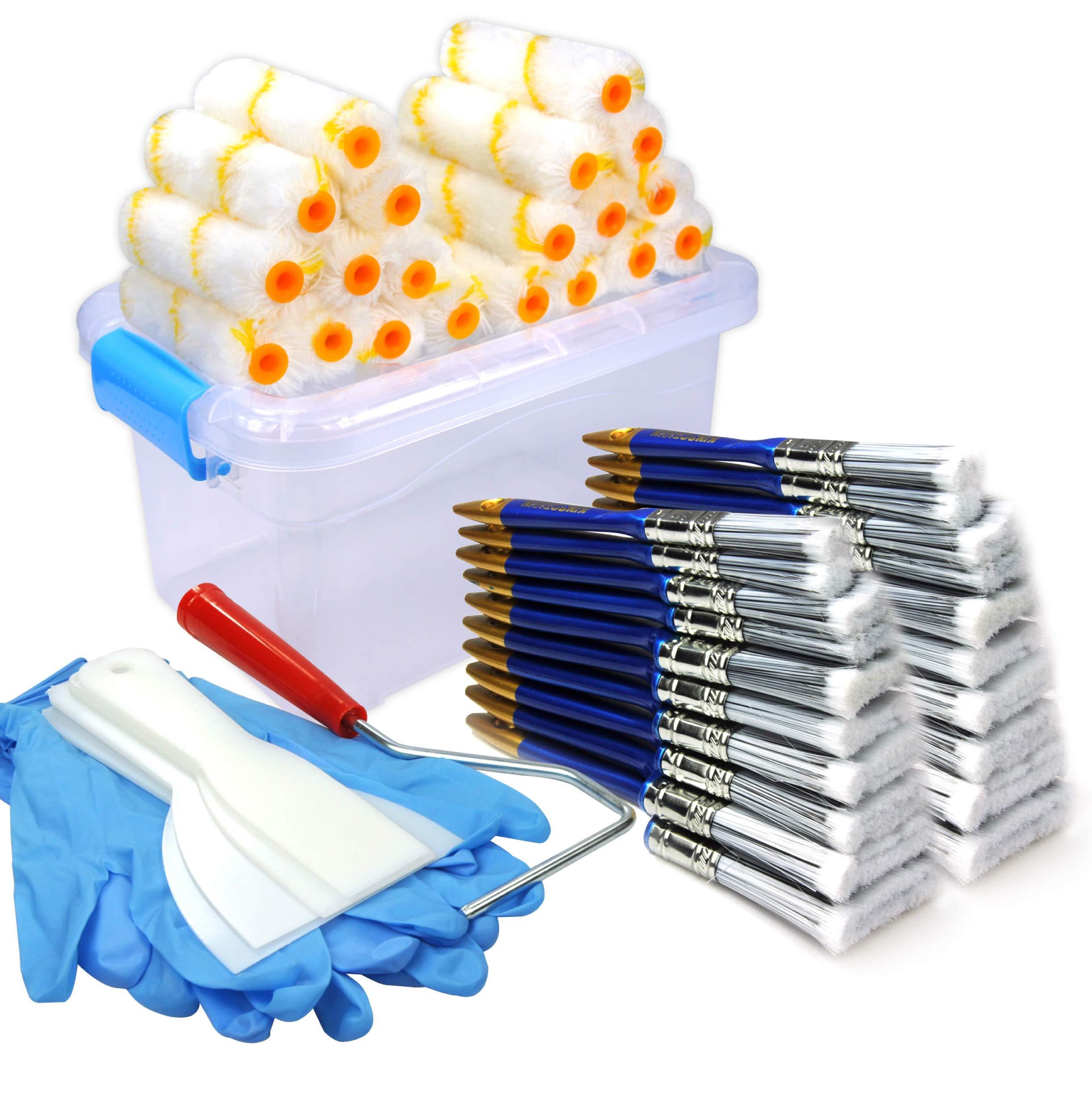 50 Piece Painters Multi use,Home Tool kit,Mini Paint Roller Covers,Paint Roller,Paint Brush,Paint Roller Frame,Home Repair Tools,Tools,Tool kit,Tool case,Home Tool kit,Tool Storage,Tool Box