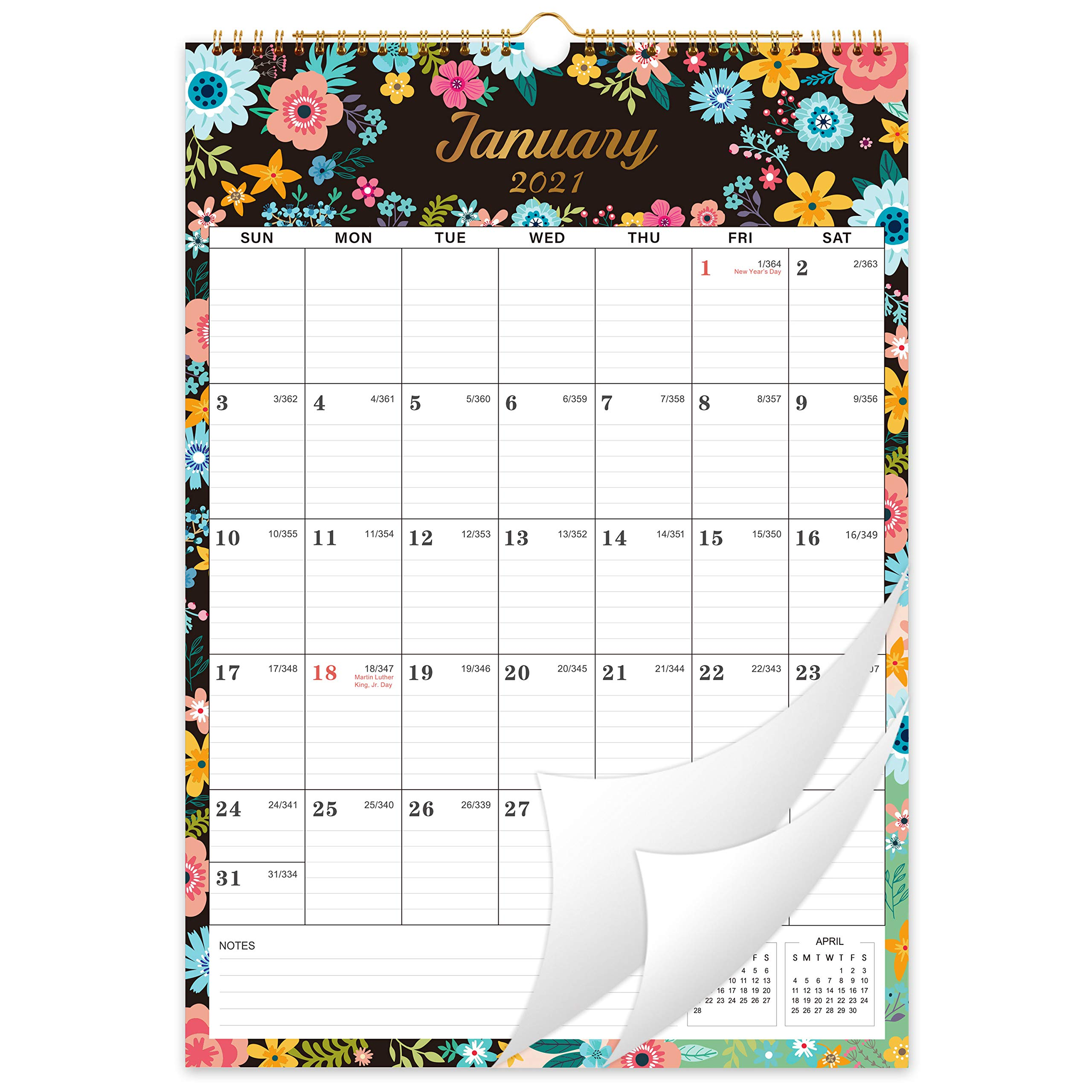 """2021-2022 Calendar - 18 Monthly Wall Calendar with Thick Paper, Jan 2021 - Jun 2022, 12"""" x 17"""", Large Blocks with Julian Dates, Twin-Wire Binding, Hanging Hook, Perfect for Planning for Home or Office"""
