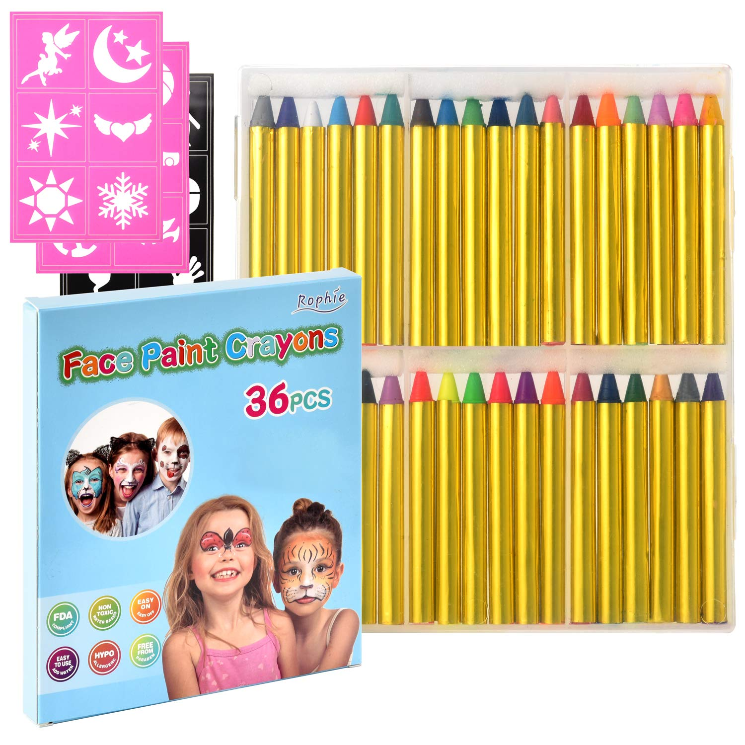 """Zecti Face Paint Crayons for Kids, 36 Jumbo 3"""" Face & Body Painting Makeup Crayons, Safe for Sensitive Skin, 12 Metallic & 24 Classic Colors, Painting Crayons Stick for Party Favors Halloween Birthday"""