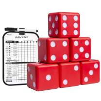 """GoSports Giant 3.5"""" Red Foam Playing Dice Set with Bonus Scoreboard (Includes 6 Dice, Dry-Erase Scoreboard and Carrying Case)"""