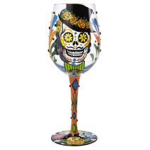Lolita Sugar Skull Artisan Painted Wine Glass Gift