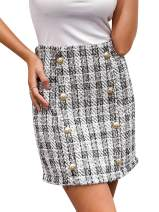 BerryGo Women's High Waist Plaid Bodycon Mini Pencil Skirt