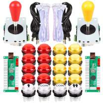 EG STARTS 2 Player LED Arcade DIY Parts 2X USB Encoder + 2X Ellipse Oval Style Joystick + 20x LED Arcade Buttons for PC MAME Raspberry Pi Windows System (Red & Yellow Kit)
