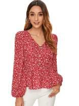 Verdusa Women's Casual V Neck Single Breasted Ruffle Hem Peplum Blouse Tops Red L