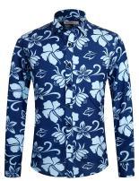 APTRO Men's Slim Fit Long Sleeve Floral Button Down Shirt