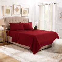 """Empyrean Bedding 14"""" - 16"""" Deep Pocket Fitted Sheet 4 Piece Set - Hotel Luxury Soft Double Brushed Microfiber Top Sheet - Wrinkle Free Fitted Bed Sheet, Flat Sheet and 2 Pillow Cases - Queen, Burgundy"""
