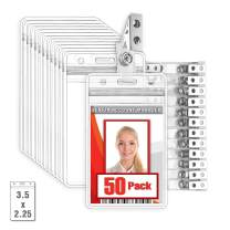 MIFFLIN Vertical Plastic Card Holder with Metal Clip and Vinyl Straps (Clear, 3.5x2.25 Inch, 50 Pack), Waterproof PVC ID Name Badge Holder with Clip