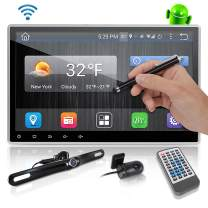 """Android Stereo Receiver Double Din - DVR Car Dash Cam System with Backup Camera, 10"""" Touchscreen LCD, WiFi, Bluetooth Wireless, DVD Player, GPS Navigation, USB Slot and AM FM Radio - Pyle PLDAND110"""