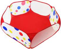"eWonderWorld 40"" Polka Dot Kids Pop Up Ball Pit Portable Play Area Hexagon Playpen with Carrying Bag"