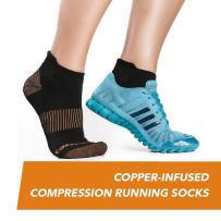 CopperJoint Compression Running Socks - Copper-Infused to Help Joint and Muscle Recovery, No-Show