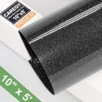 Glitter 10Inx5ft Black Heat Transfer Vinyl Roll(HTV) for T-Shirt Clothing Garment Bags