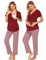 Ekouaer Maternity Nursing Pajama Set Striped Pants Short/Long Sleeve V Neck Breastfeeding Sleepwear Hospital Gown(S-XXL)