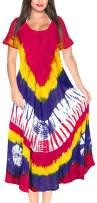 LA LEELA Women's Summer Casual T Shirt Dresses Beach Cover up Tank Hand Tie Dye