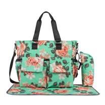 Leaper Floral Diaper Tote Bag Shoulder Bag Beach Bag Handbags Nappy Bag Green