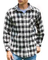 Janmid Men's Button Down Regular Fit Long Sleeve Plaid Flannel Casual Shirts