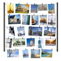 Love-KANKEI Wood Picture Frame Collage Photo Display Frame 26×29 inch with 30 Clips and Adjustable Twines Collage Artworks Prints Pictures Organizer Black