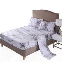 A Nice Night Mable Design Printing Bed Sheet Bedding Set, 100% Soft Microfiber Fitted Sheet (King, Light-Grey)