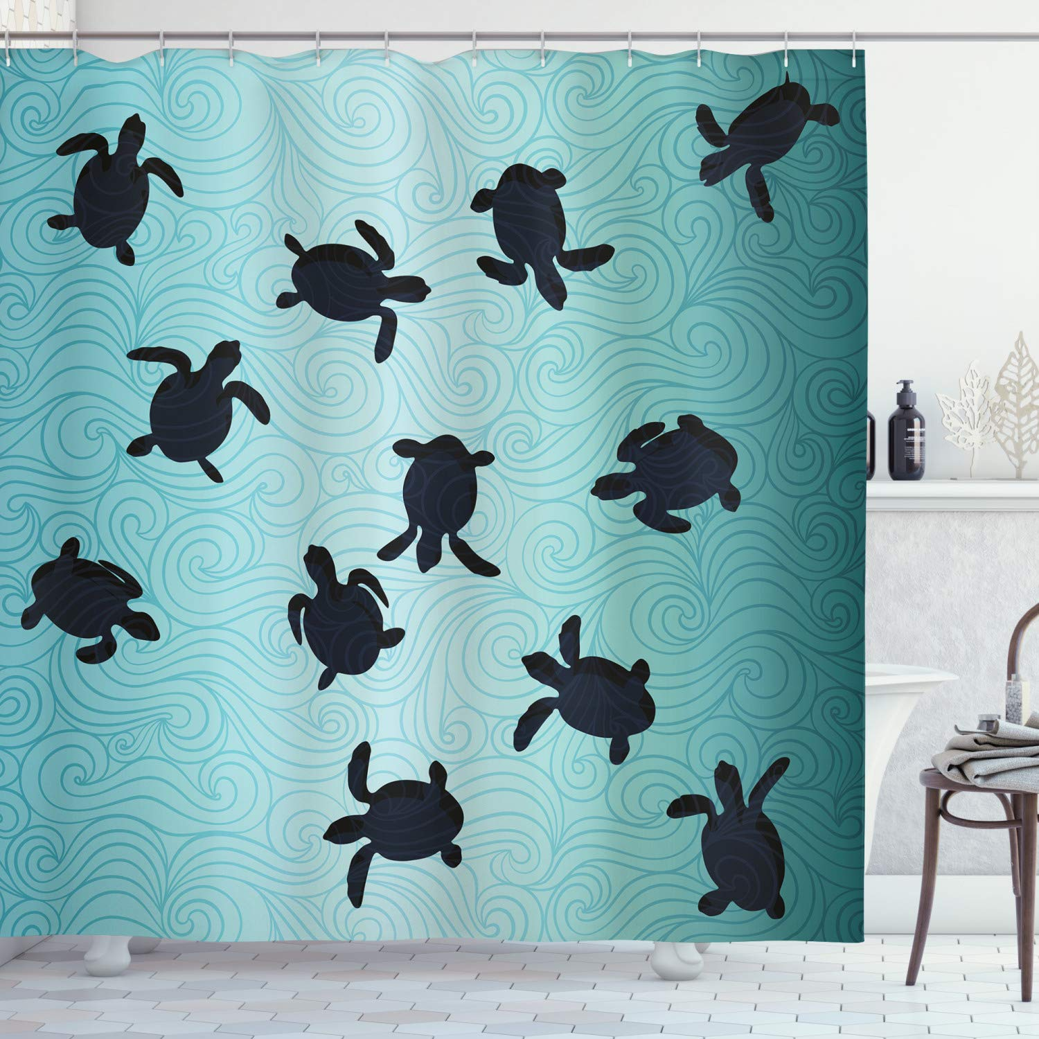 """Ambesonne Marine Shower Curtain, Baby Sea Turtles Swimming Silhouette from The Bottom of Ocean Underwater Display, Cloth Fabric Bathroom Decor Set with Hooks, 75"""" Long, Teal Blue"""