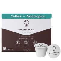 SmartJava Coffee Pods with Brain Boost, Improve Focus & Memory, Medium Roast, Healthy Coffee with Natural Nootropics, Superfoods, Adaptogens, Alpha GPC, L Theanine, Vitamins, Turmeric, Cinnamon (10 Count)