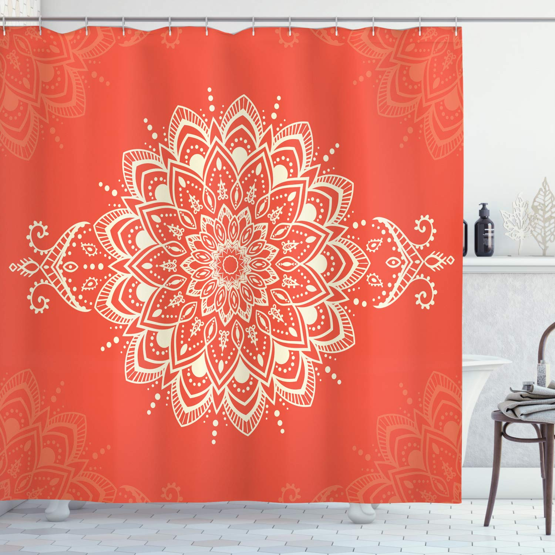 "Ambesonne Oriental Shower Curtain, Round Mandala Design Yoga Meditation Cosmos Concepts Outline Ornament Graphic, Cloth Fabric Bathroom Decor Set with Hooks, 84"" Long Extra, Orange Ivory"