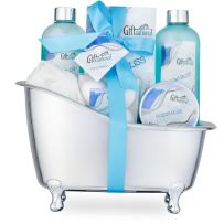 Spa Gift Basket with Refreshing Ocean Bliss Fragrance - Best Christmas, Birthday or Anniversary Gift for Women -Bath Gift Set Includes Shower Gel Bubble Bath, Bath Salts Bath Bombs and More