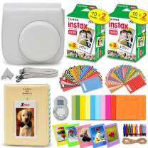 Fujifilm Instax Mini Instant Film (2 Twin Packs, 40 Total Pictures) + Smokey White Fitted Case for Instax Mini 9 Instant Camera, Assorted Colorful Stickers/Frames, Photo Album + More