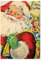 12 Boxed 'Santiques Presents' Christmas Cards with Envelopes 4.63 x 6.75 inch, Vintage Santa Claus Cards, Assorted Retro Kris Kringle Cards, Jolly Old Saint Nick Holiday Notes B3280AXSG